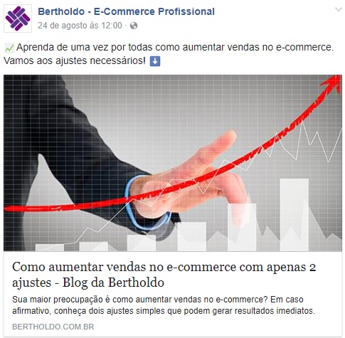 Facebook - post com link para o blog