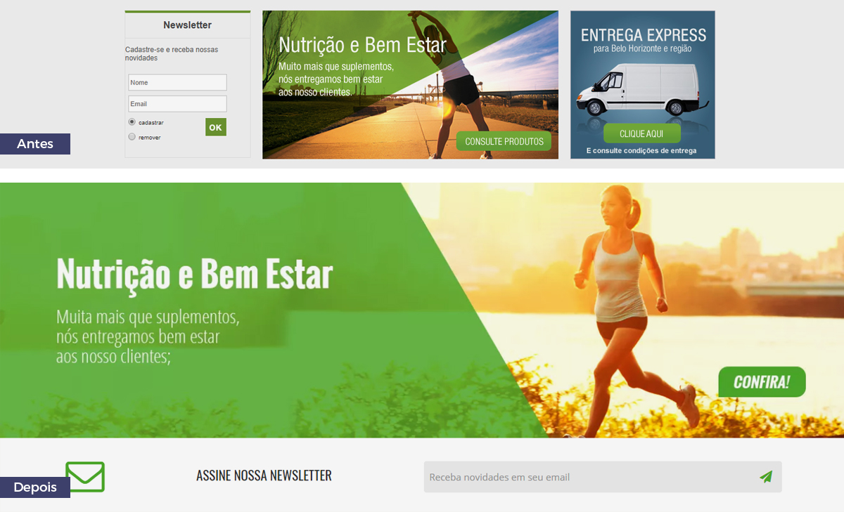 Redesign da Diet Fit: antes e depois newsletter